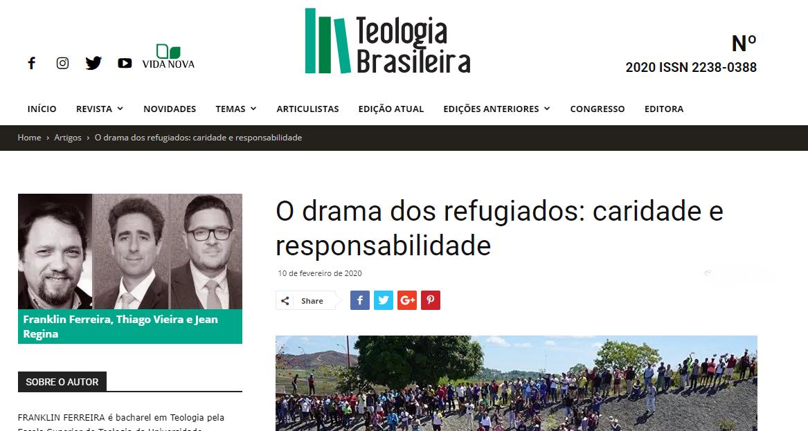 NOVO ARTIGO: TR VIEIRA E JEAN REGINA | PARCERIA COM FRANKLIN FERREIRA | REVISTA TEOLOGIA BRASILEIRA